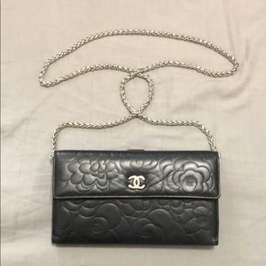 Chanel Camelia wallet with chain